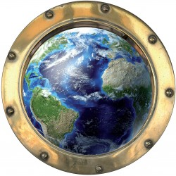 Sticker hublot trompe L'oeil La Terre