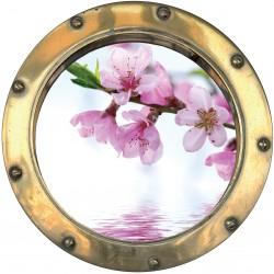 Sticker hublot trompe L'oeil fleur sur Eau
