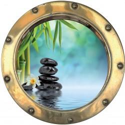 Sticker hublot trompe L'oeil galets fleur de bambou