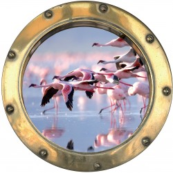 Sticker hublot trompe L'oeil Flamands rose