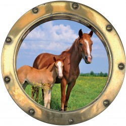 Sticker hublot trompe L'oeil Cheval et Poney