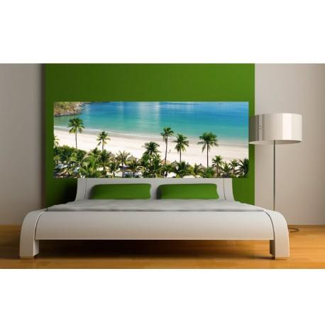papier peint t te de lit ile paradisiaque art d co stickers. Black Bedroom Furniture Sets. Home Design Ideas