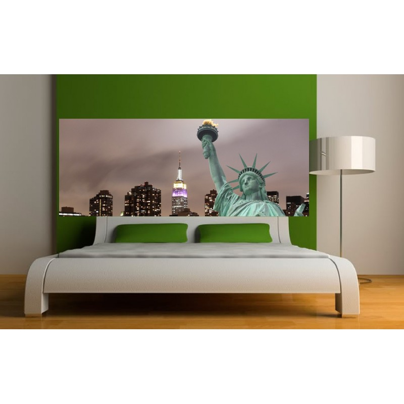 papier peint t te de lit statue de la libert art d co. Black Bedroom Furniture Sets. Home Design Ideas