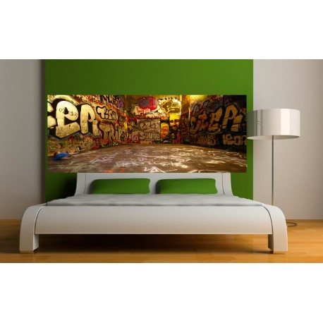 papier peint t te de lit graffitti art d co stickers. Black Bedroom Furniture Sets. Home Design Ideas