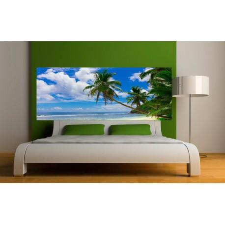 Papier peint t te de lit plage et palmier art d co stickers - Papier peint tete de lit ...