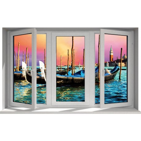 Sticker Fenêtre trompe l'oeil Les Gondoles à Venise
