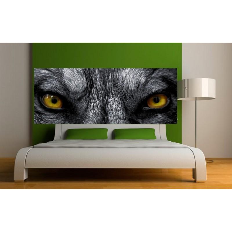 papier peint t te de lit oeil de loup art d co stickers. Black Bedroom Furniture Sets. Home Design Ideas