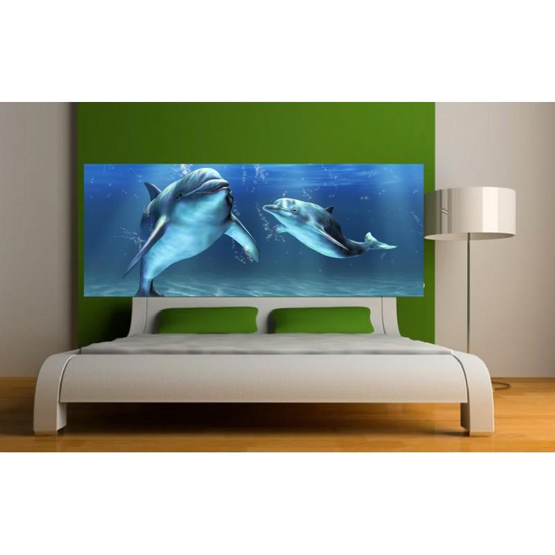 Papier peint t te de lit dauphins art d co stickers - Tete de lit papier peint ...