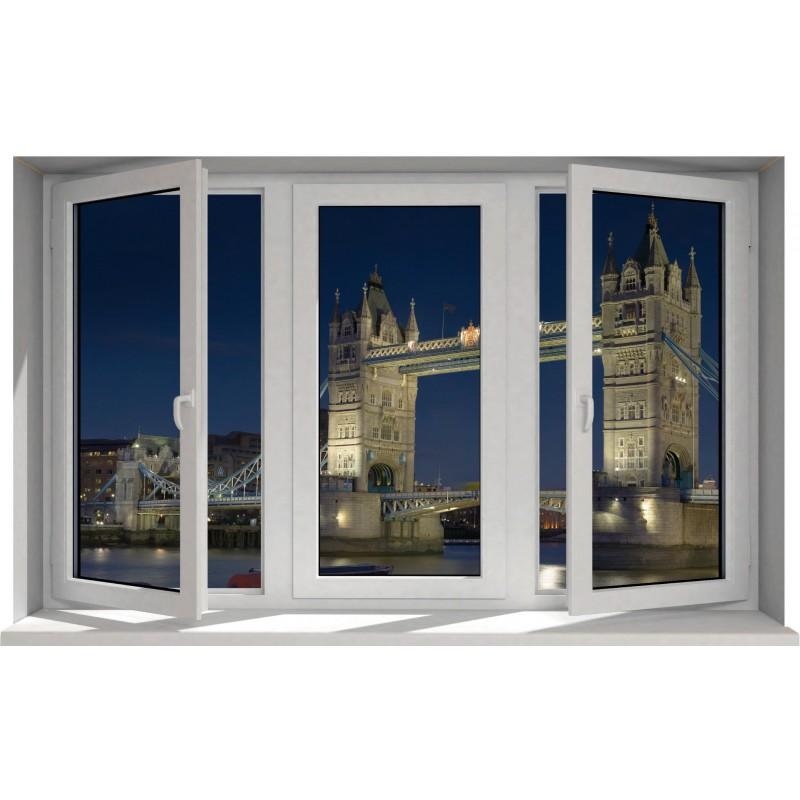 sticker fen tre trompe l 39 oeil londres london bridge art. Black Bedroom Furniture Sets. Home Design Ideas