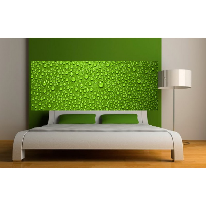 papier peint t te de lit gouttes sur fond vert art d co stickers. Black Bedroom Furniture Sets. Home Design Ideas