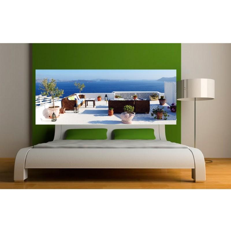 papier peint t te de lit salon vue sur mer art d co stickers. Black Bedroom Furniture Sets. Home Design Ideas