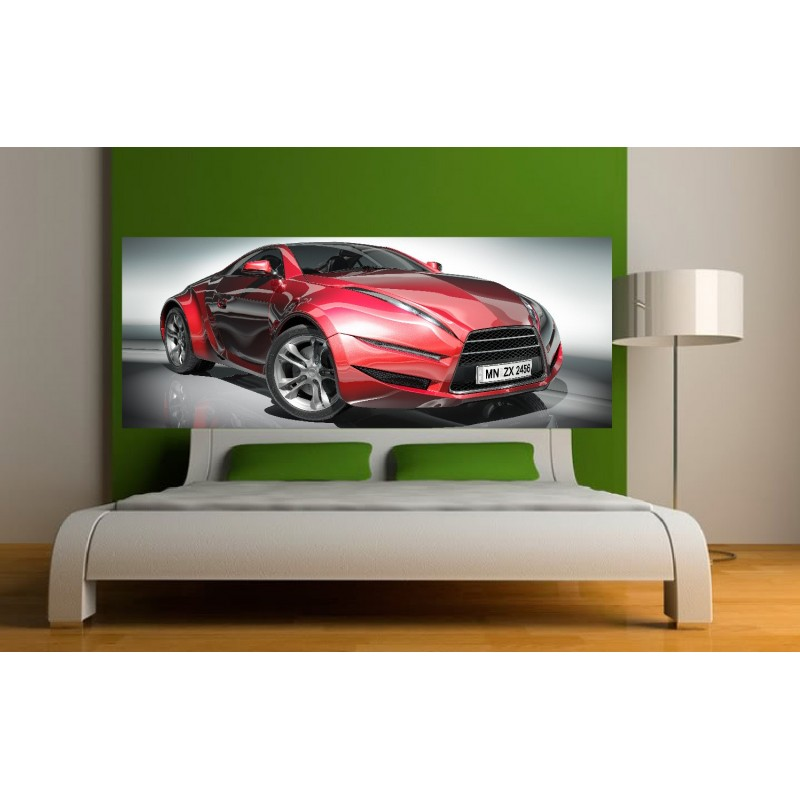 papier peint t te de lit voiture sport art d co stickers. Black Bedroom Furniture Sets. Home Design Ideas
