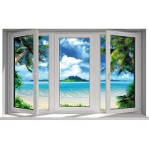 Sticker fenêtre trompe l'oeil Antilles