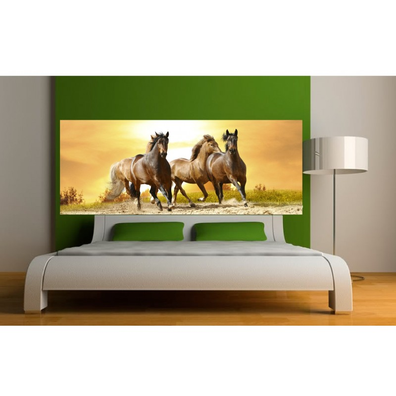 papier peint t te de lit chevaux art d co stickers. Black Bedroom Furniture Sets. Home Design Ideas