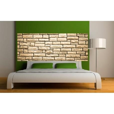 papier peint t te de lit mur de pierre art d co stickers. Black Bedroom Furniture Sets. Home Design Ideas