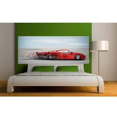 papier peint t te de lit voiture rouge art d co stickers. Black Bedroom Furniture Sets. Home Design Ideas