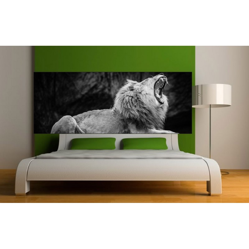 papier peint t te de lit lion noir blanc art d co stickers. Black Bedroom Furniture Sets. Home Design Ideas