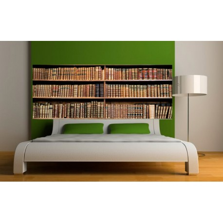 papier peint t te de lit bibliotheque art d co stickers. Black Bedroom Furniture Sets. Home Design Ideas
