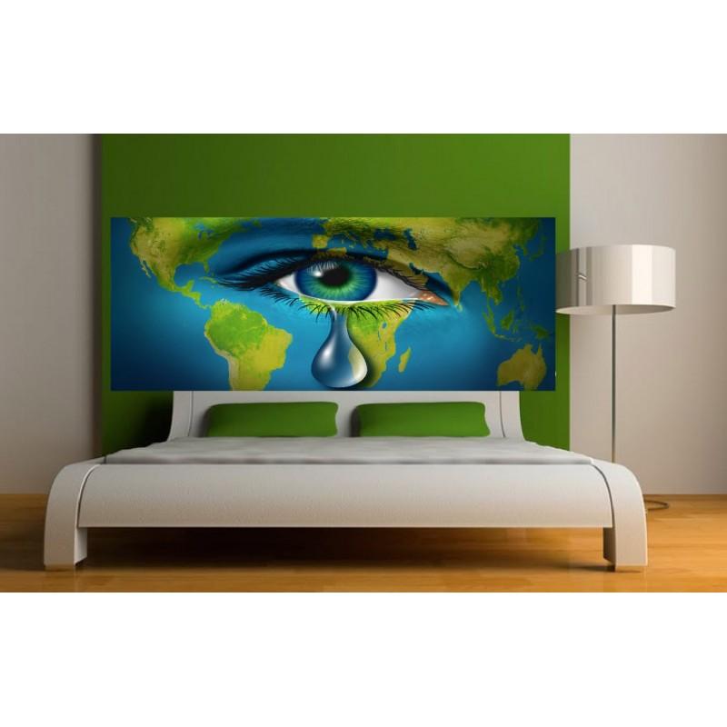 Papier peint t te de lit larme terrestre art d co stickers - Tete de lit en papier peint ...