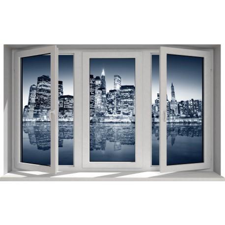Sticker fenêtre trompe l'oeil New York la nuit