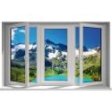 Sticker fenêtre trompe l'oeil Montagne Lac