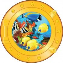 Sticker hublot trompe L'oeil enfant poissons exotique