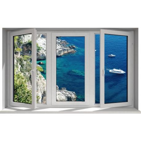 Sticker fenêtre trompe l'oeil déco vue sur mer