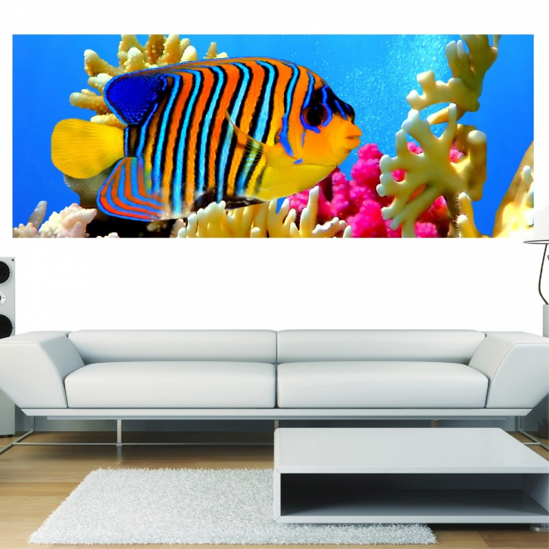 papier peint panoramique poisson exotique art d co stickers. Black Bedroom Furniture Sets. Home Design Ideas