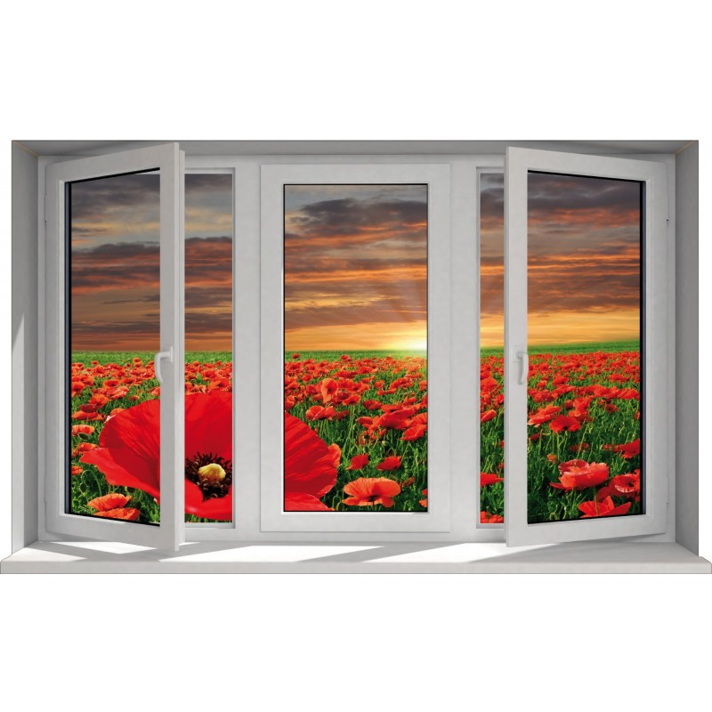 Sticker fen tre trompe l 39 oeil d co paysage coquelicot art d co stickers - Tableau trompe l oeil fenetre ...