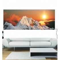 Papier peint panoramique soleil sur montagne