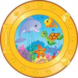 Sticker hublot enfant animaux marins