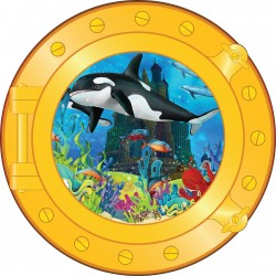 Sticker hublot enfant requin orque
