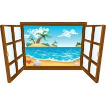 Sticker enfant fenêtre île déserte