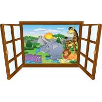 Sticker enfant fenêtre Animaux souriants