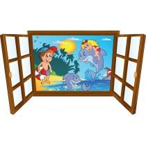 Sticker enfant fenêtre Enfants & dauphins dans l'eau