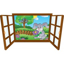 Sticker enfant fenêtre Lapin & fleur