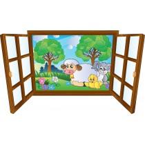 Sticker enfant fenêtre animaux de la ferme