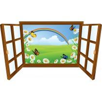 Sticker enfant fenêtre Arc en ciel et papillon