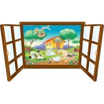 Sticker enfant fenêtre animaux à la campagne