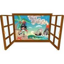 Sticker enfant fenêtre Pirate et bateau