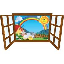 Sticker enfant fenêtre animaux et arc en ciel
