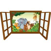 Sticker enfant fenêtre Elephant et ses amis