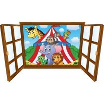 Sticker enfant fenêtre animaux & chapiteau