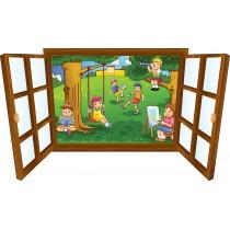 Sticker enfant fenêtre enfants dans le jardin