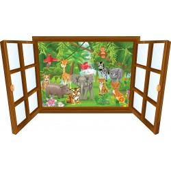 Sticker enfant fenêtre bébé animaux de la jungle