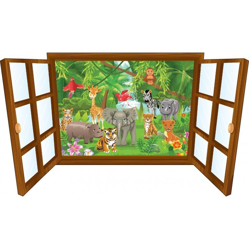 sticker enfant fen tre b b animaux de la jungle art d co stickers. Black Bedroom Furniture Sets. Home Design Ideas