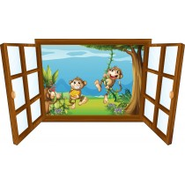 Sticker enfant fenêtre singes rigolos