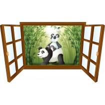 Sticker enfant fenêtre Pandas