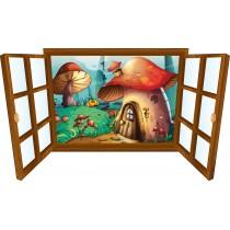 Sticker enfant fenêtre maison champignion