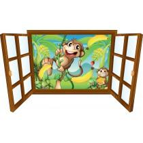 Sticker enfant fenêtre singes et bananes
